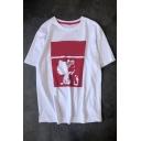 Lovely Cartoon Cat Print Round Neck Short Sleeves Summer T-shirt