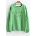 Leisure Letter Embroidered Round Neck Long Sleeves Pullover Sweatshirt
