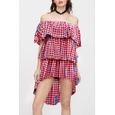 Girlish Off the Shoulder Gingham Plaids Pineapple Print Dipped Hem Ruffle Detail Layered Dress