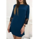 Lady Lace Insert 3/4 Length Sleeve Round Neck Mini Shift Dress