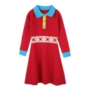Chic Color Block Button Detail Lapel Long Sleeve A-line Knitted Mini Dress