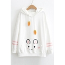 Cute Cartoon Rabbit Striped Print Carrot Drawstring Ear Pocket Hoodie