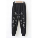 Christmas Style Sequined Snowflake Embroidered Elastic Waist Tapered Pants