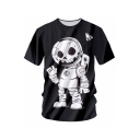 New Arrival Digital Skull Astronaut Printed Round Neck Short Sleeve Tee
