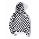 Hip-Hop Style Monochrome Plaid Printed Long Sleeve Leisure Hoodie for Couple