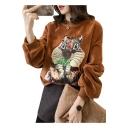 Cute Chipmuck Animal Print Pompom Detail Round Neck Long Sleeves Velvet Sweatshirt