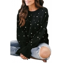Chic Allover Beaded Round Neck Bell Sleeves Pullover Sweatshirt