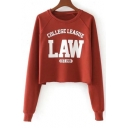 Fashionable Letter Print Round Neck Long Sleeves Pullover Cropped Sweatshirt