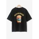 Fashionable Hamburger Letter Print Round Neck Short Sleeves Summer T-shirt