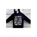 Cute Cat Face Letter Print Round Neck Long Sleeves Pullover Sweatshirt