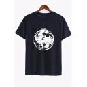 Stylish Moon Planet Letter Print Round Neck Short Sleeves Casual Tee