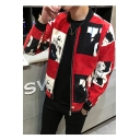Hot Popular Printed Stand Up Collar Long Sleeve Zip Up Slim Baseball Jacket