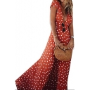 Summer Fashion Polka Dot Print Plunge Neck Belted Split Front Maxi Beach Dress