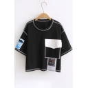 Color Block Applique Pocket Embellished Round Neck Short Sleeve Cropped Tee