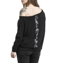 Skull Printed Color Block Boat Neck Long Sleeve Leisure Tee