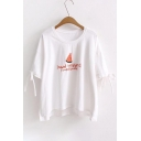 Watermelon Letter Embroidered Round Neck Bow Tied Cuff Detail Dip Hem Leisure Tee