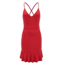 Spaghetti Straps Sleeveless Lace Up Back Plain Ruffle Hem Mini Cami Dress