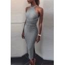 Spring Fashion Halter Neck Strappy Cross Waist Slim Fit Split Side Midi Bodycon Dress