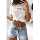 Women's Fashion Letter Print Round Neck Short Sleeves Knotted Front T-shirt