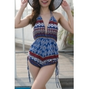 Sexy Folk Style Printed Halter Sleeveless V Neck Open Back Romper