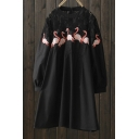 Floral Lace Insert Flamingo Embroidered Round Neck Long Sleeve Midi A-Line Dress