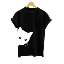 Lovely Cat Print Round Neck Short Sleeves Casual Monochrome Tee