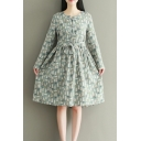 Leisure Cartoon Bear Printed Round Neck Long Sleeve Tied Waist Midi A-Line Dress