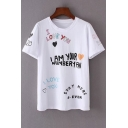 Fancy Childish Letter Sweetheart Print Round Neck Short Sleeves Casual Tee