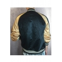 Color Block Wing Embroidered Back Stand Up Collar Long Sleeve Zip Up Baseball Jacket