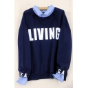 Lapel Collar Fake Two Pieces Letter Printed Long Sleeve Pullover Sweatshirt