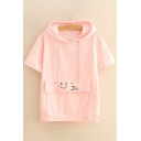 Simple Letter Face Embroidered Short Sleeve Hooded Tee with Pocket