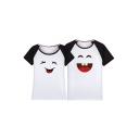 Color Block Raglan Short Sleeve Cartoon Smile Face Printed Round Neck Leisure Tee for Couple