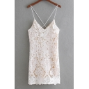 Summer Fashion Lace Panel Spaghetti Straps Cross Back Lace Up Detail Mini Cami Dress