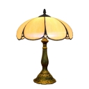 Vintage 11.8''H Simple Table Lamp with Dome Glass Shade in Tiffany Style