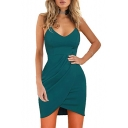 Sexy Plain V Neck Sleeveless Spaghetti Straps Asymmetric Hem Mini Bodycon Dress
