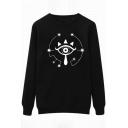Stylish Eye Tribal Print Round Neck Long Sleeves Pullover Sweatshirt