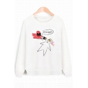Funny Letter Superhero Print Round Neck Long Sleeves Pullover Sweatshirt