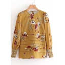 Hot Sale Floral Pattern Round Neck Long Sleeve Pleated Front Blouse