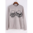 Cool Skull Hand Print Round Neck Long Sleeves Pullover Sweatshirt