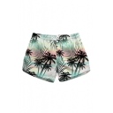 Coconut Tree Printed Drawstring Waist Beach Shorts with Pockets