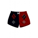 Color Block Geometric Printed Drawstring Waist Shorts with Pockets