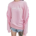 Fancy Letter Print Ruffle Detail Round Neck Long Sleeves Pullover Sweatshirt