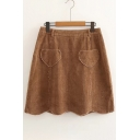 Heart Pattern Pocket Embellished Simple Plain Corduroy Mini A-Line Skirt