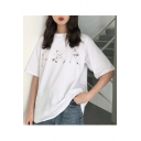 Leisure Round Neck Short Sleeve Character Printed Loose Tee
