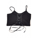 Lace Up Grommet Embellished Fronted Spaghetti Straps Sleeveless Plain Cropped Cami