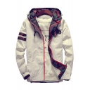 Color Block Camouflage Printed Long Sleeve Zip Up Hooded Coat
