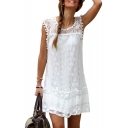 Summer Fashion Lace Insert Cap Sleeve Plain Pompom Detail Mini Shift Dress
