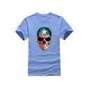 Street Style Leisure Skull Printed Round Neck Short Sleeve Tee