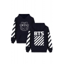 Hot Fashion Striped Symbol Letter Print Long Sleeves Pullover Hoodie with Pocket