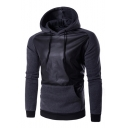 Popular PU Patchwork Color Block Long Sleeves Men's Hoodie with Pocket